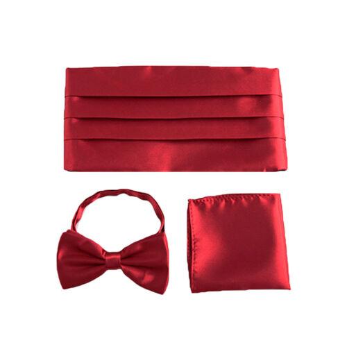 Men Classic Solid Color Bow Tie Pocket Square Tuxedo Girdle Cummerbunds Set