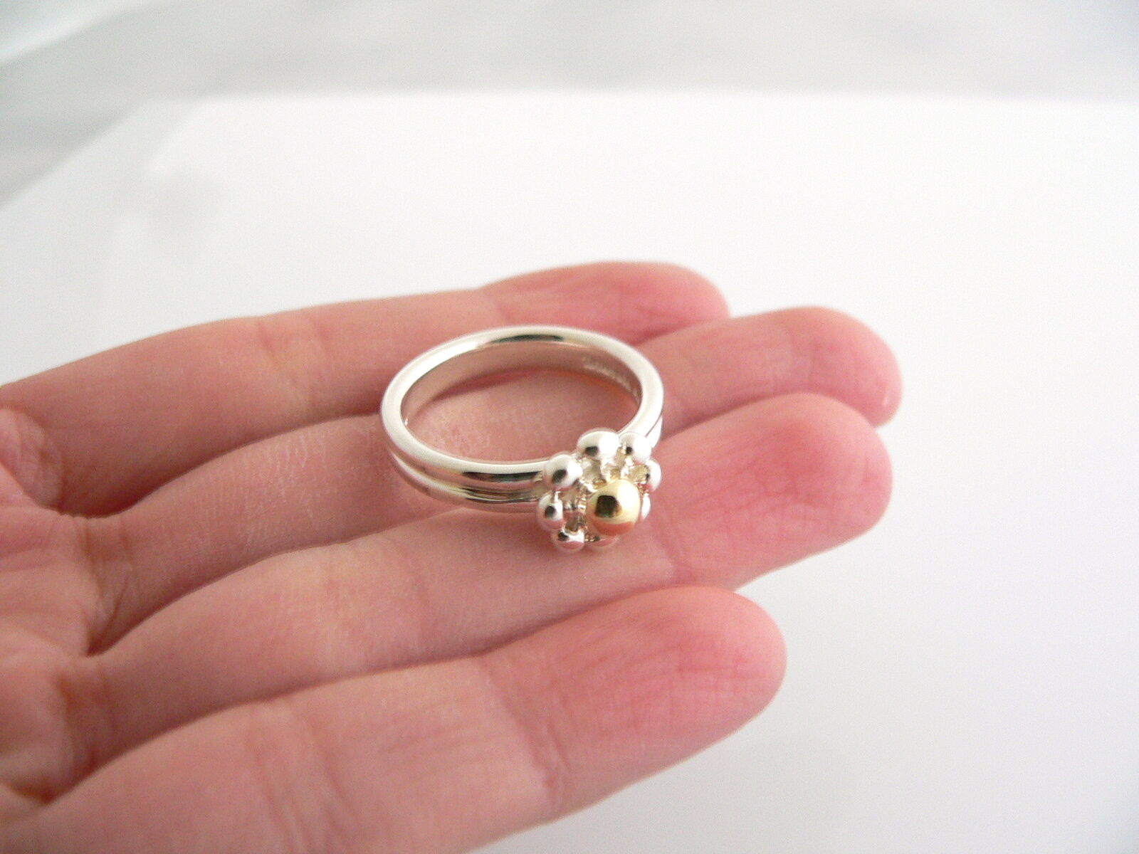 3712b58cc4fb3 Tiffany & Co Silver 18K Gold Picasso Jolie Flower Bead RIng Band Sz ...