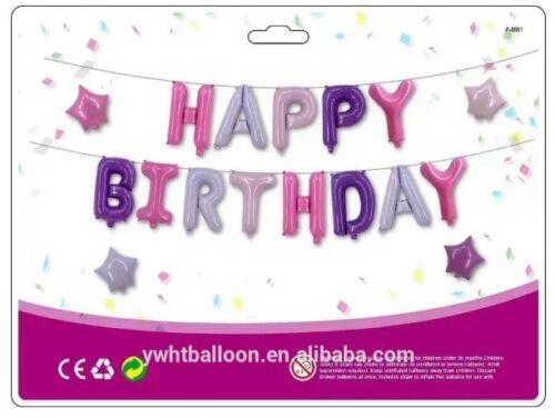 "cadena 2x 16/"" Perla Multi Color Feliz Cumpleaños PANCARTA PAPEL DE ALUMINIO empavesado Ballons"