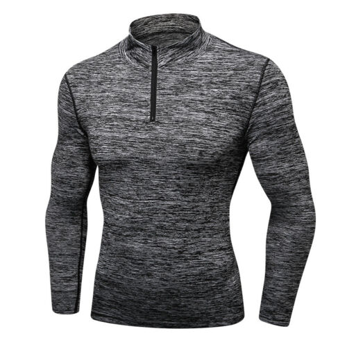 Men/'s Thermal 1//4 Zip Mock Neck Shirt Workout Fitness Compression Top Base Layer
