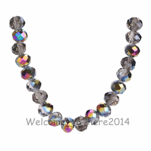 8x6mm Rondelle Faceted Crystal Glass Loose Spacer Colorized Beads 69Colors#Q