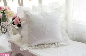 French Country Shabby Chic Princess Ivory White Pillow Throw Cushion Cover*Lace