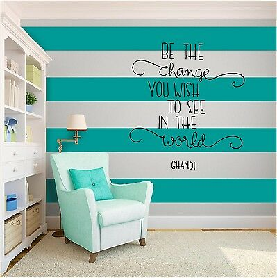 New Be The Change Ghandi Inspirational Vinyl Wall Art quote Home Decor