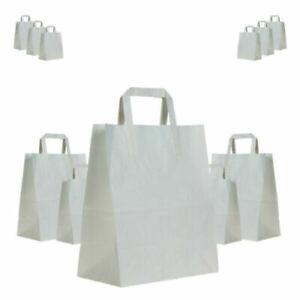 High Quality Plain White Brown Kraft Paper Food Carrier Eco Friendly Bag - S M L