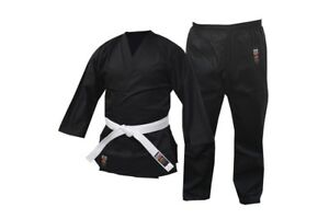 Karate Uniform Martial Arts Gi BLACK All Sizes HIGH QUALITY 8oz Free WHITE Belt