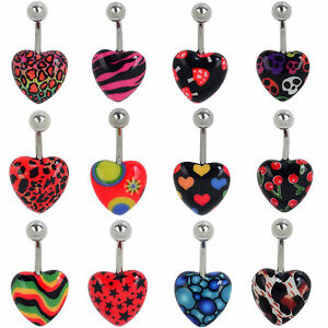 1pc-Punk-Acrylic-Stainless-Steel-Heart-Body-Piercing-Belly-Bar-Button-Navel-Ring