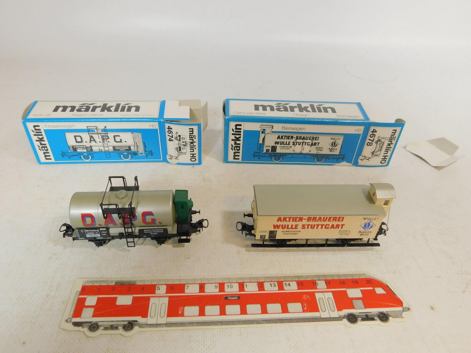 AS443-0,5x Märklin H0 AC Güterwagen K.W.St.E.  4674 D.A.P.G.+4678 Wulle, OVP