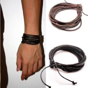 Fashion-2pcs-Lots-Mens-Girls-Wrap-Leather-Charm-Bracelet-Women-Jewelry-Chain-NEW