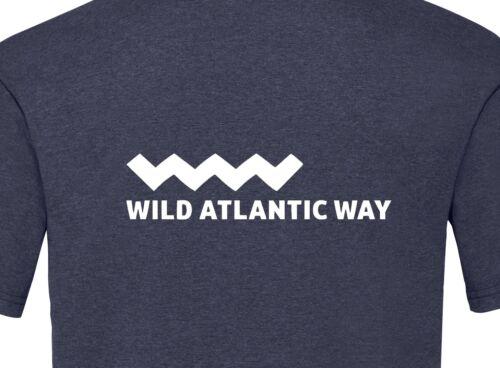 Wild ATLANTIC modo Logo T-Shirt-Vintage Heather Blu Scuro-Irlanda viaggio percorso