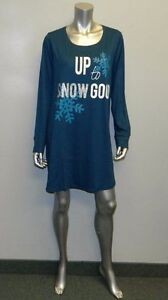 CACIQUE NWT Teal Blue SNOW GOOD Scoop Neck Sleep Shirt Pajamas Plus ... a202df8a5