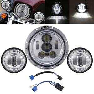 "7"" Chrome LED Projector Hi-Lo TP Headlight + Passing Lights For Harley Davidson"