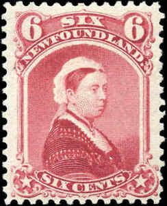 Mint-H-Canada-Newfoundland-1894-F-VF-6c-Scott-36-Queen-Victoria-Stamp