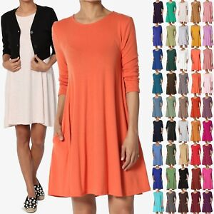 b17329a54d7 TheMogan Women   PLUS 3 4 Sleeve Pocket Swing Flared TUNIC DRESS A ...