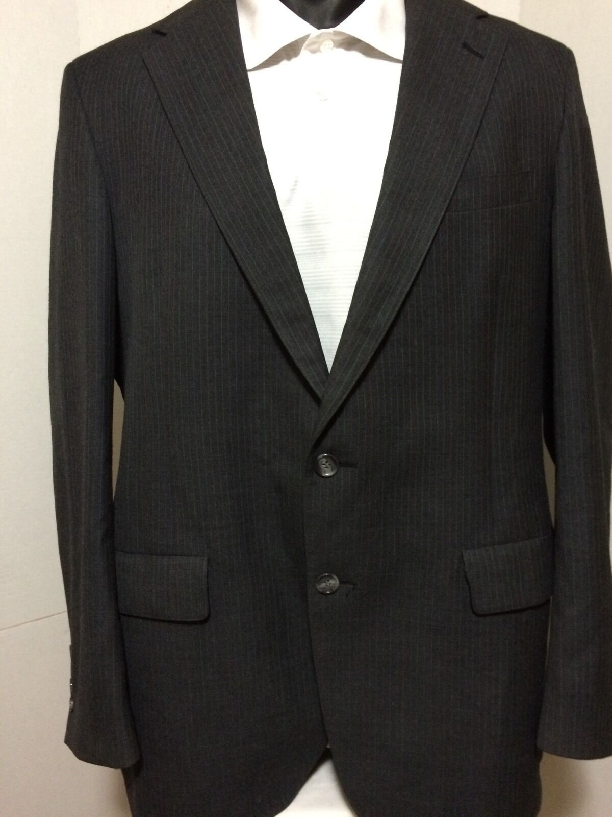Palm Beach By Belk Dark grau Pinstripe Wool grau 2 Button Sport Coat Blazer 42L