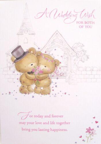 "Glittered Church With Wedding Bears /""A  WEDDING WISH /"" Card"