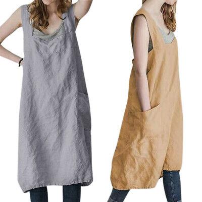 Plus Size Women Cotton Linen Cross Back Apron Housework Pinafore Dress Oversized