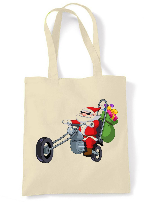 SANTA CLAUS BIKER SHOULDER BAG - Father Christmas Chopper Motorbike Present Gift