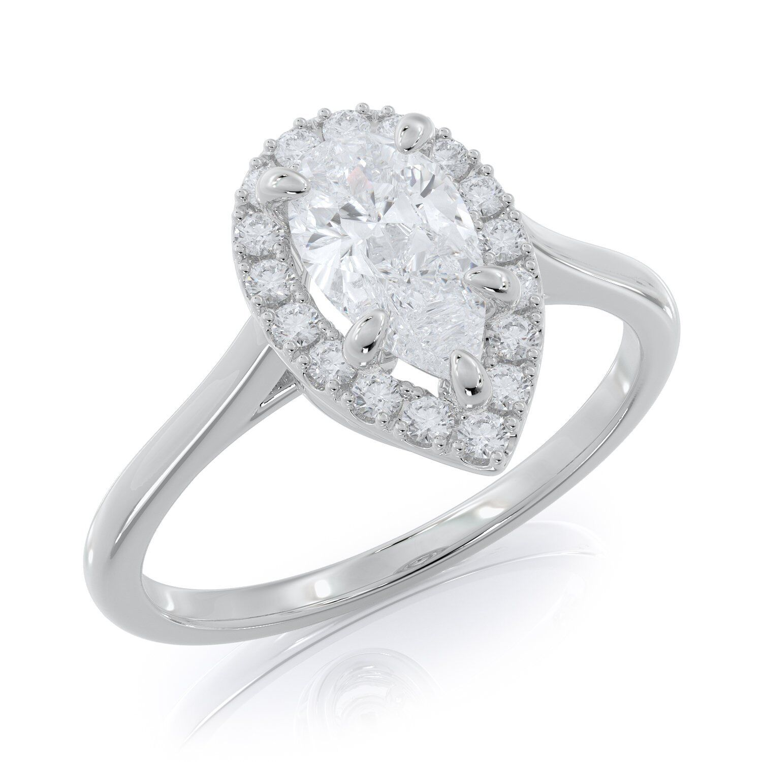 0.5 Ct Pear Natural Diamond Halo Engagement Ring 14K White gold