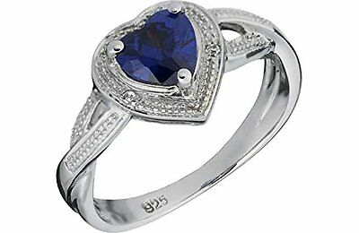Platinum Plated Sterling Silver Tanzanite Coloured Cubic Zirconia Heart Ring