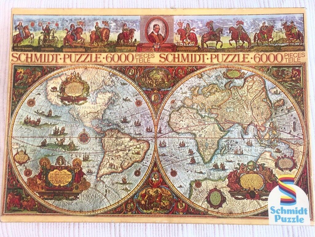 Vintage Schmidt Jigsaw Puzzle 6000 Piece 1985 Historic World Map