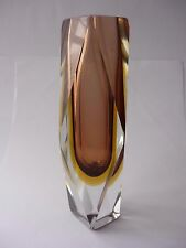 VINTAGE LARGE MURANO FACETED SOMMERSO VASE