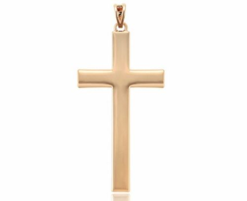 Rose Gold GF Large Size 68mm Plain Solid Cross Crucifix Pendant