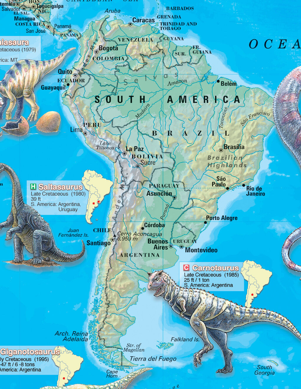 Cool Owl Maps Dinosaur World Wall Map Poster 36