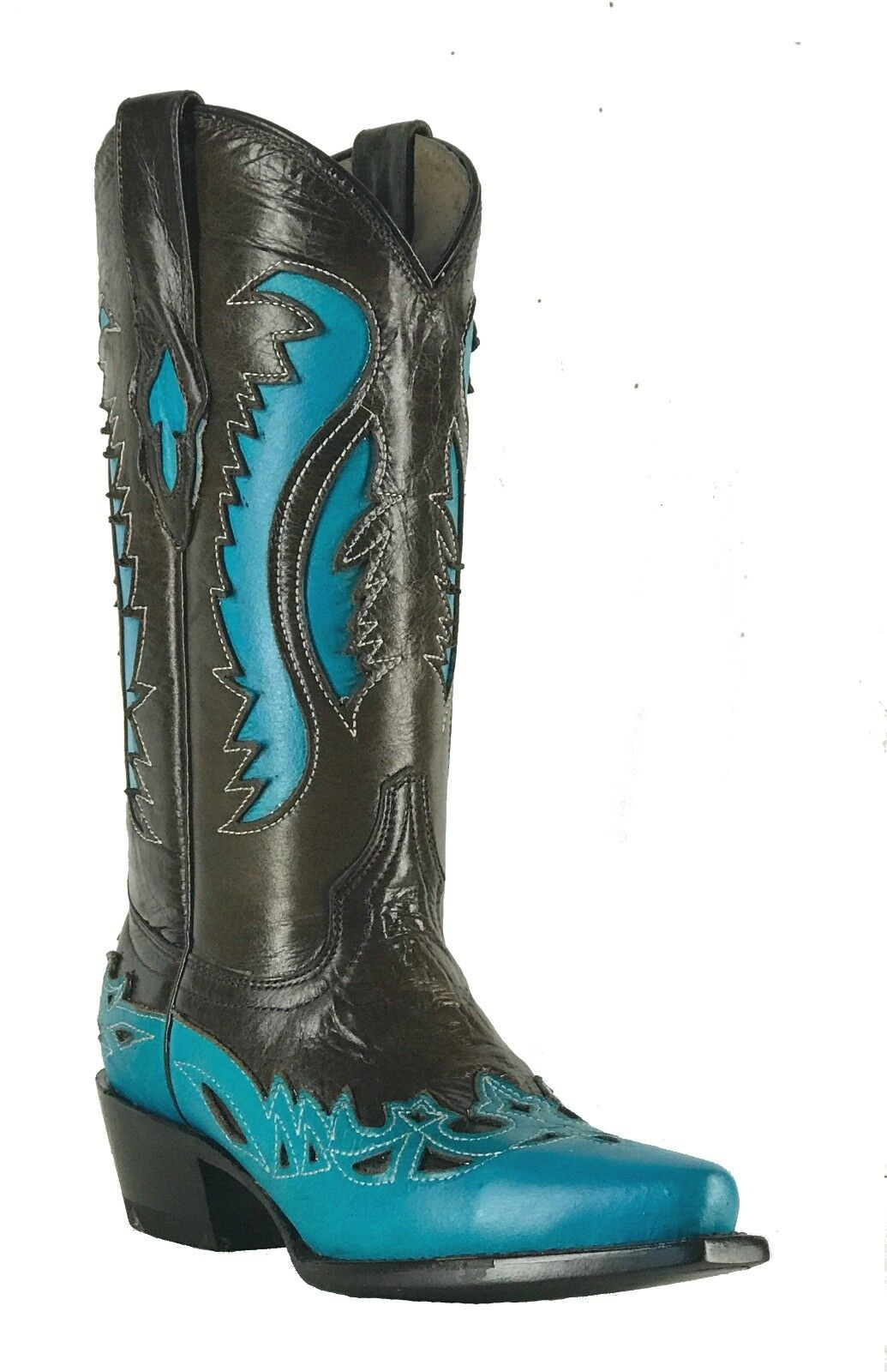 Women's New Leather Studs Cowgirl Western Biker Boots Snip Brown bluee Sale