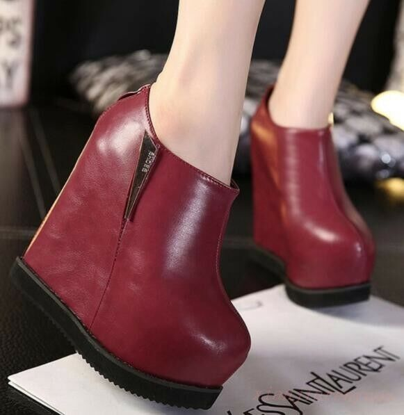 NEW Arrival Women's Round Toe Back Zip Platform Wedge Pumps High Heel Shoes Chic
