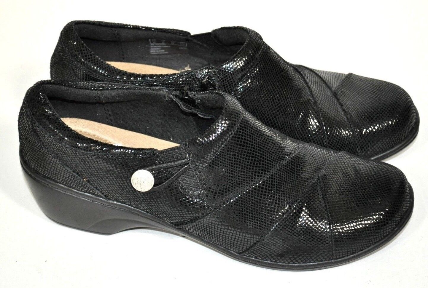 New Clarks Soft Cushion Black Inside Zip shoes Shimmer Textured low 2  heel 9 40