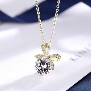 925-Sterling-Silber-Halskette-Spinell-Bogen-Anhaenger-Damen-Schmuck-Geschenk-Neu