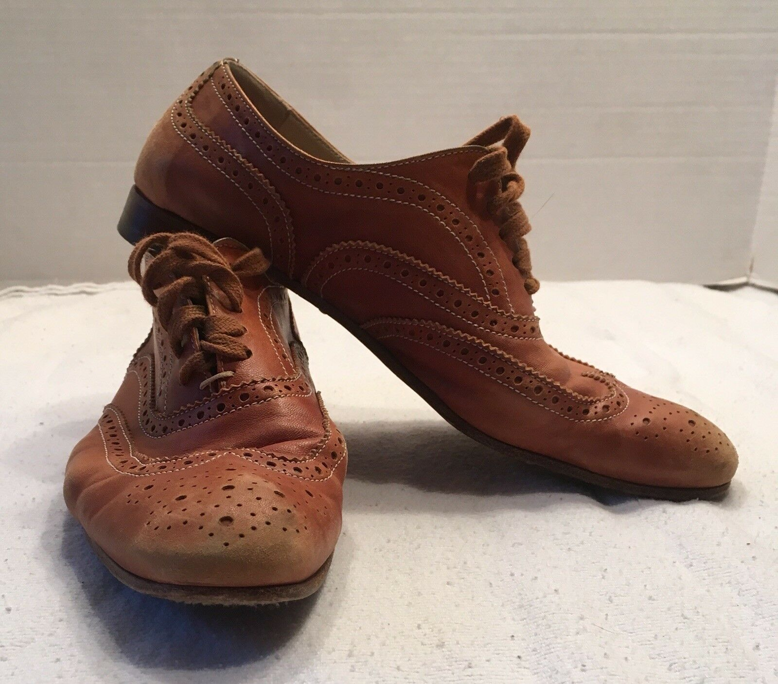 AGL ATTILIO GIUSTI LEOMBRUNI VINTAGE TAN LEATHER LACE UP OXFORDS MADE IN ITALY