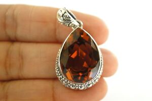 Pear-Shaped-Golden-Yellow-Citrine-Solitaire-Ornate-925-Sterling-Silver-Pendant