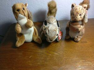 Beanie Babies 3: Nuts DOB: 1-21-96, Chipper DOB: 4-21-99, & Nutty DOB: 8-3-02