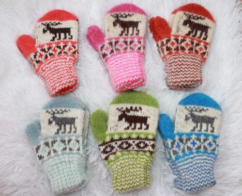 Nouveau Bébé hiver Mitaines Maison Tricoté 100/% laine de mouton Craft Warm Deer