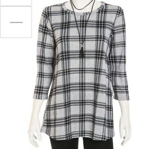 Womens-Bobbie-Brooks-Gray-black-plaid-tunic-top-3-4-sleeve-semi-sheer-w-necklace
