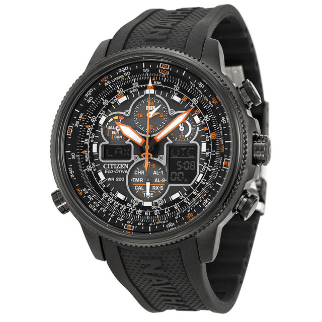 Citizen Navihawk A-T Black Dial Black Rubber Mens Watch JY8035-04E