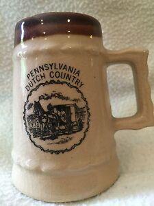 PENNSYVANIA-DUTCH-COUNTRY-MINI-CERAMIC-Brown-MUG-Beer-Saying-on-back-Free-Ship