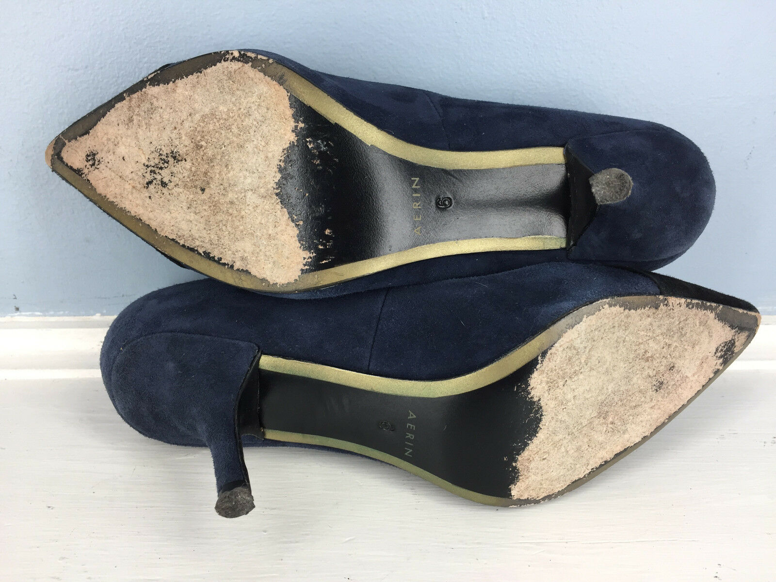 Aerin 6 navy Blau schwarz schwarz schwarz suede Leder pump heels Excellent Esme Career Cocktail 376238