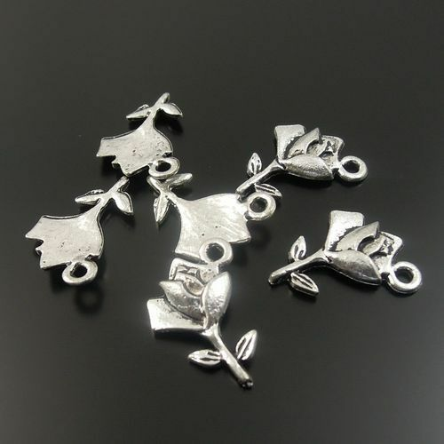 Jewelry Making Retro Silver Metal Rose Flower Look Pendant Charm Craft 15*10*1mm