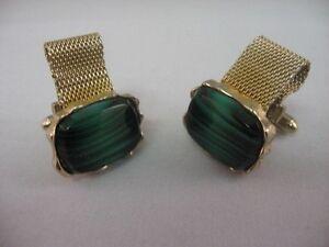 Gorgeous-Green-Striped-Glass-Vintage-Men-039-s-Cufflinks-by-Dante