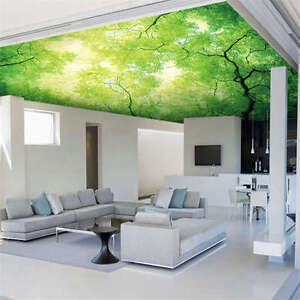 Details About Sky Tree Green Leave Full Wall Ceiling Mural Photo Wallpaper Print Home 3d Decal