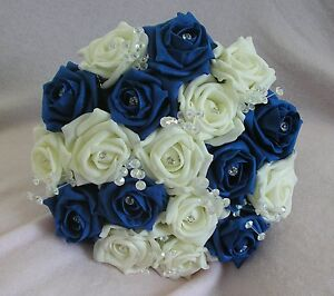 Image Is Loading Artificial Flowers Royal Blue Ivory Foam Rose Bridesmaid