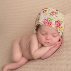 ed85d3150 Details about Vintage Baby Boy Girl Floral Linen Hat Cap Newborn Beanie  Bonnet Hats Photo Prop
