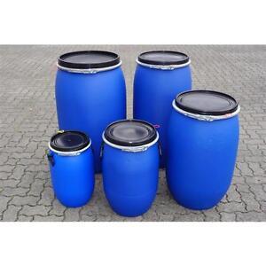 Kunststoffdeckelfass-30-220L-blau-Tonne-Fass-Futtertonne-Regenfass-Behaelter