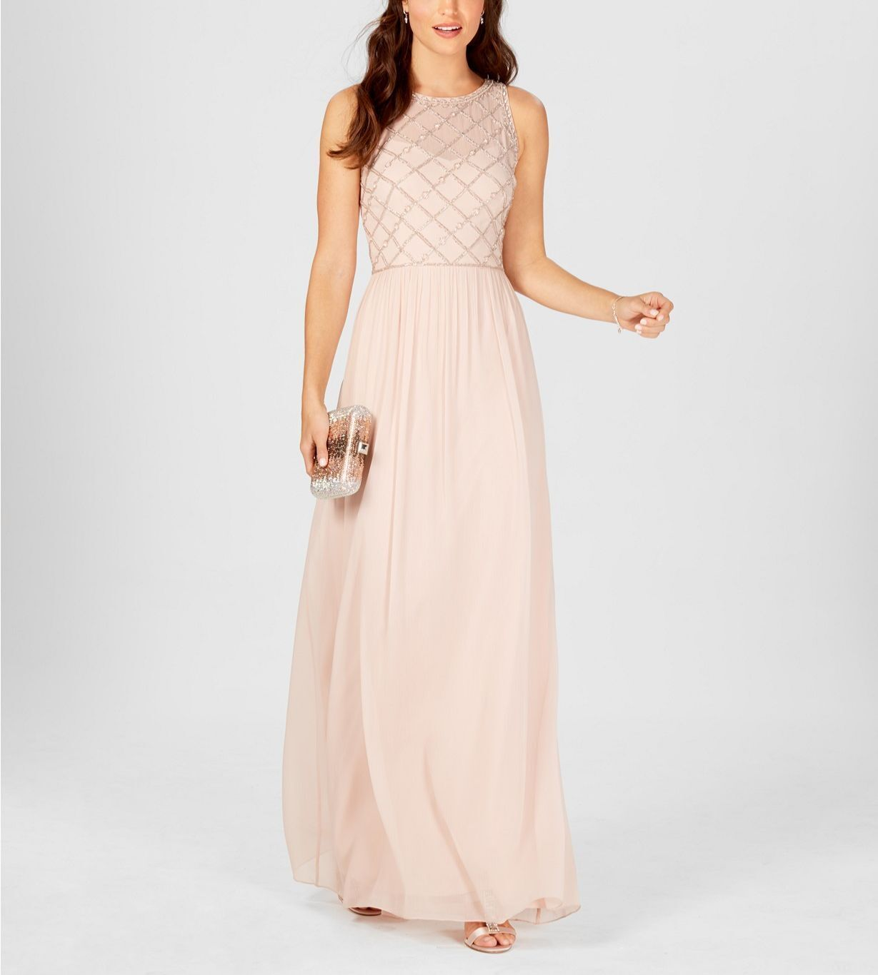 ADRIANNA PAPELL damen Rosa EMBELLISHED BEADED SLEEVELESS GOWN DRESS Größe 12