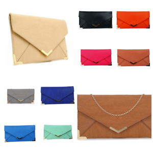 New Ladies Prom Faux Leather Two Tone Wedding Party Evening Envelope Clutch Bags