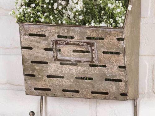 Storage Bin WALL POCKET BASKET Metal Wall Caddy Vintage Style Wall Bucket