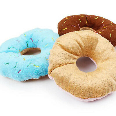 Random Color Pet Puppy Chew Squeaky Plush Sound Donuts For Dog Play Funny Toys