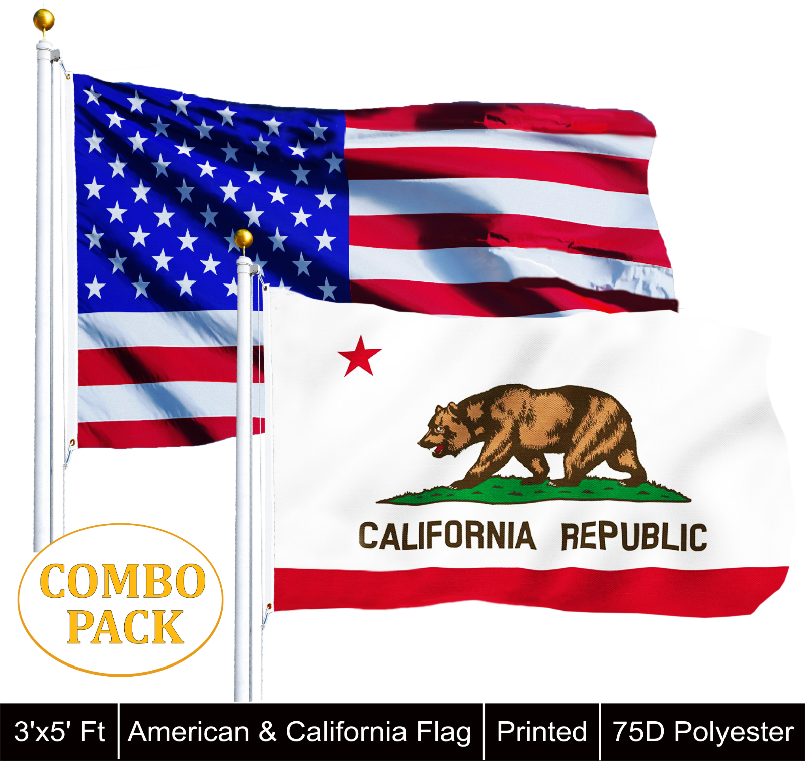 3/'x5/' California USA Flag American Outdoor Banner Golden State Grizzly Bear 3x5
